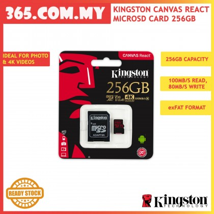 Kingston Canvas React MicroSD Card 256GB (SDCR/256GB) Designed for 4K Video DSLR Cameras